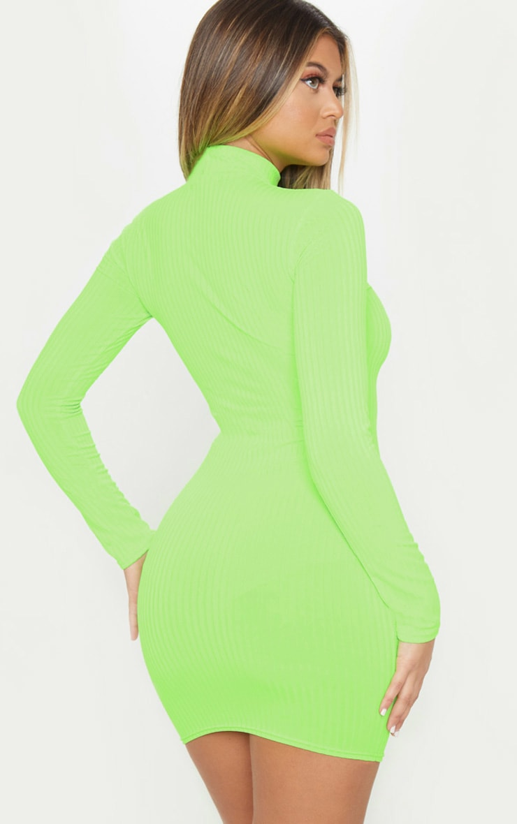 Green Neon Roll Neck Bodycon Dress 3