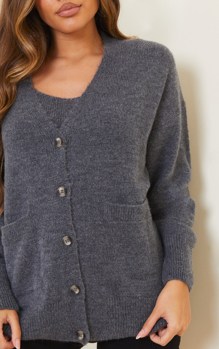 Grey Cosy Knitted Slouchy Button Down Cardigan 4