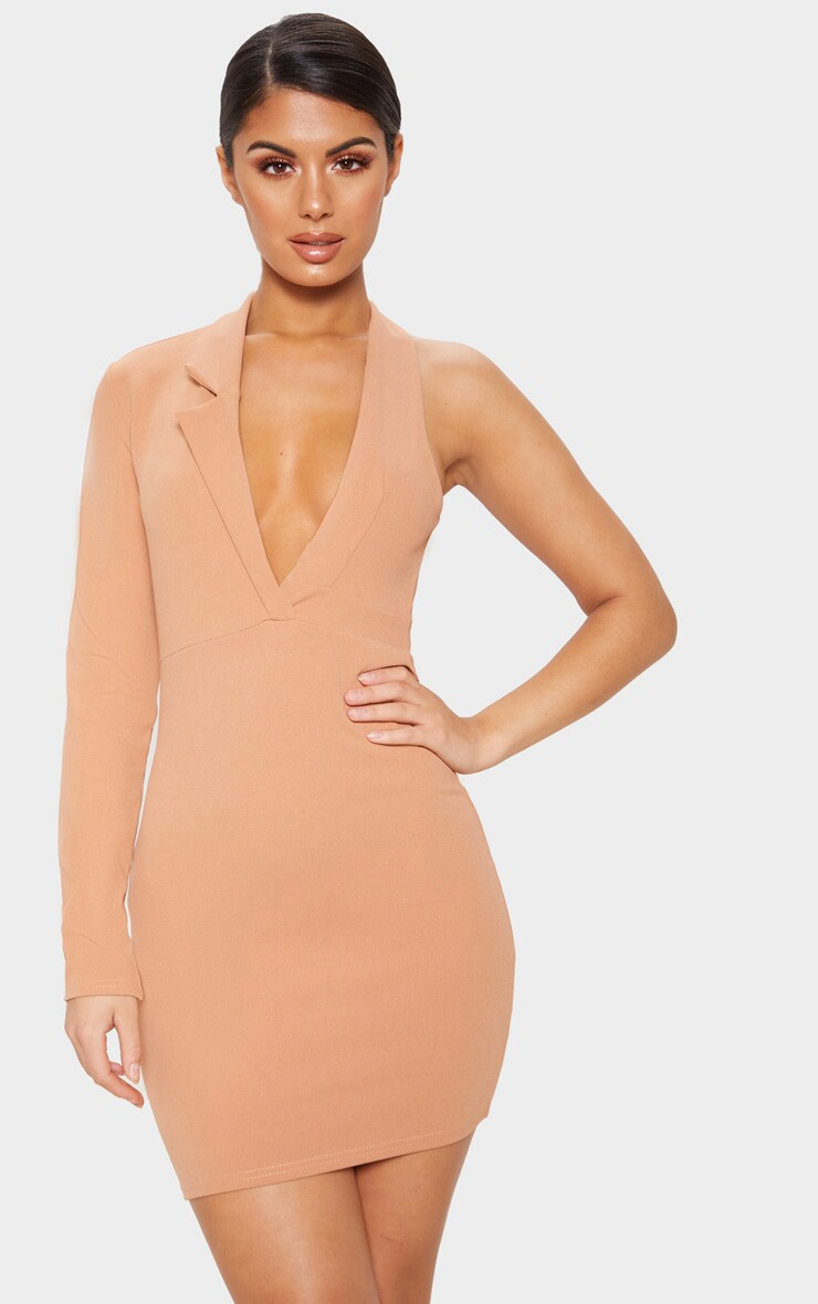 Camel Cut Out One Shoulder Blazer Dress 1