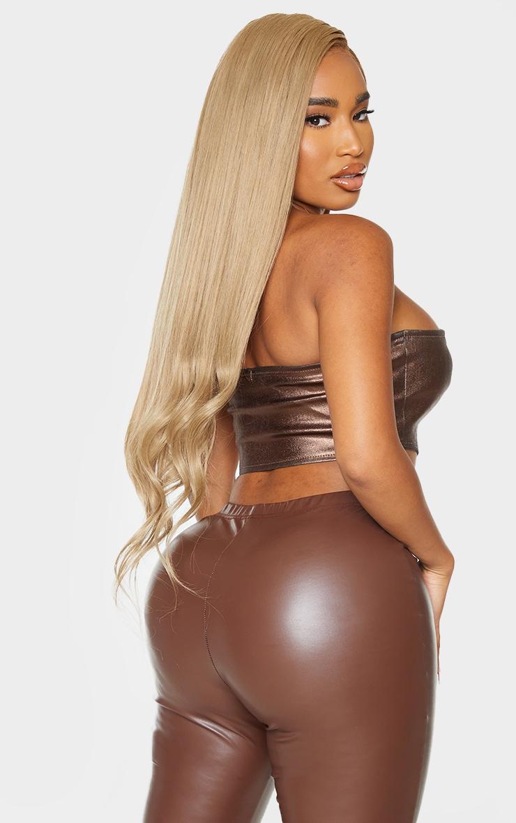 Shape Chocolate Brown Metallic Coated Denim Lace Up Crop Top 2
