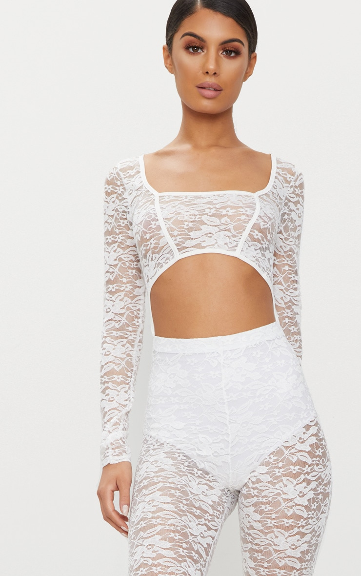 White Lace Long Sleeve Binded Jumpsuit 5