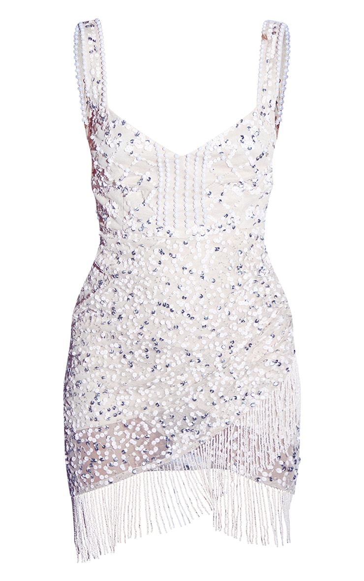 Nude Premium Embellished Beaded Trim Sweetheart Bodycon Dress 5