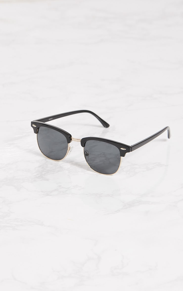 Black Half Lens Aviator Sunglasses 2