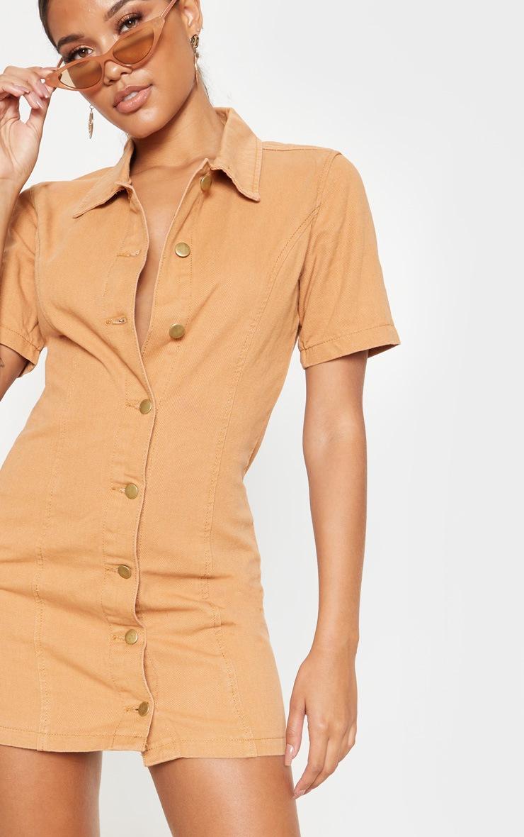 Biscuit Button Through Short Sleeved Denim Dress 5