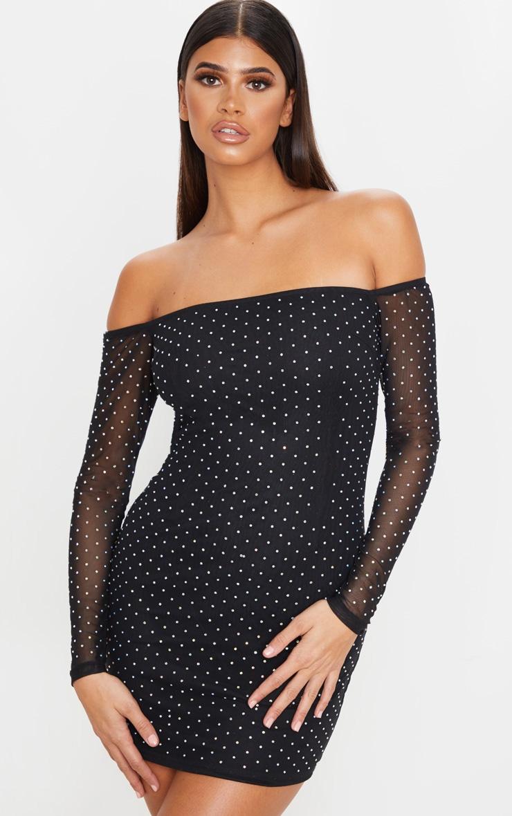 Black Diamante Mesh Bardot Bodycon Dress 1