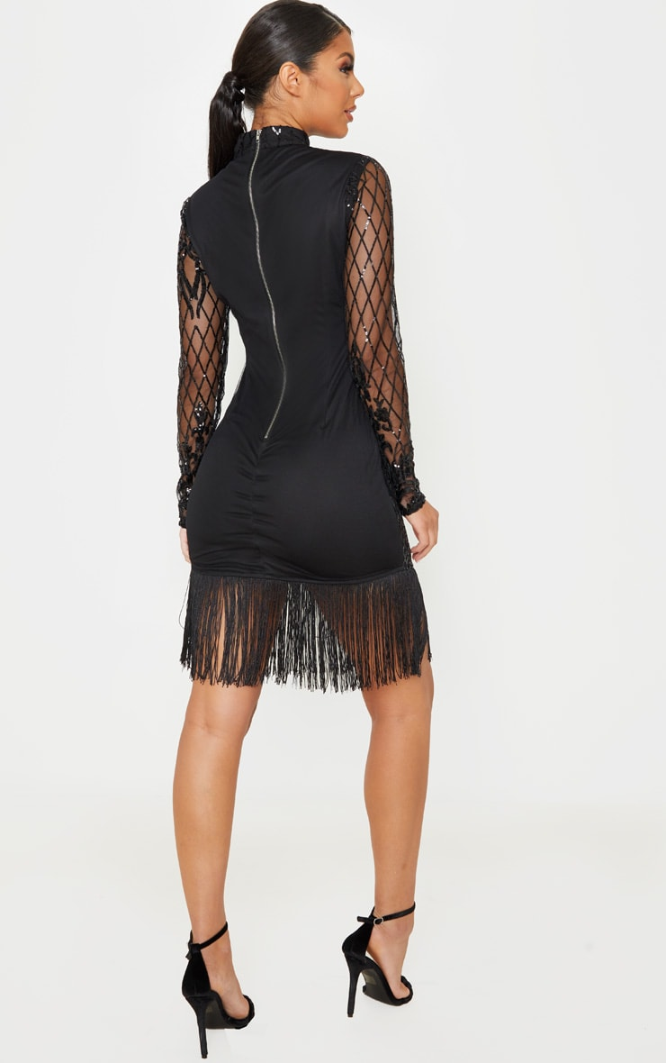 Black Long Sleeve Sequin Tassel Hem Bodycon Dress 2