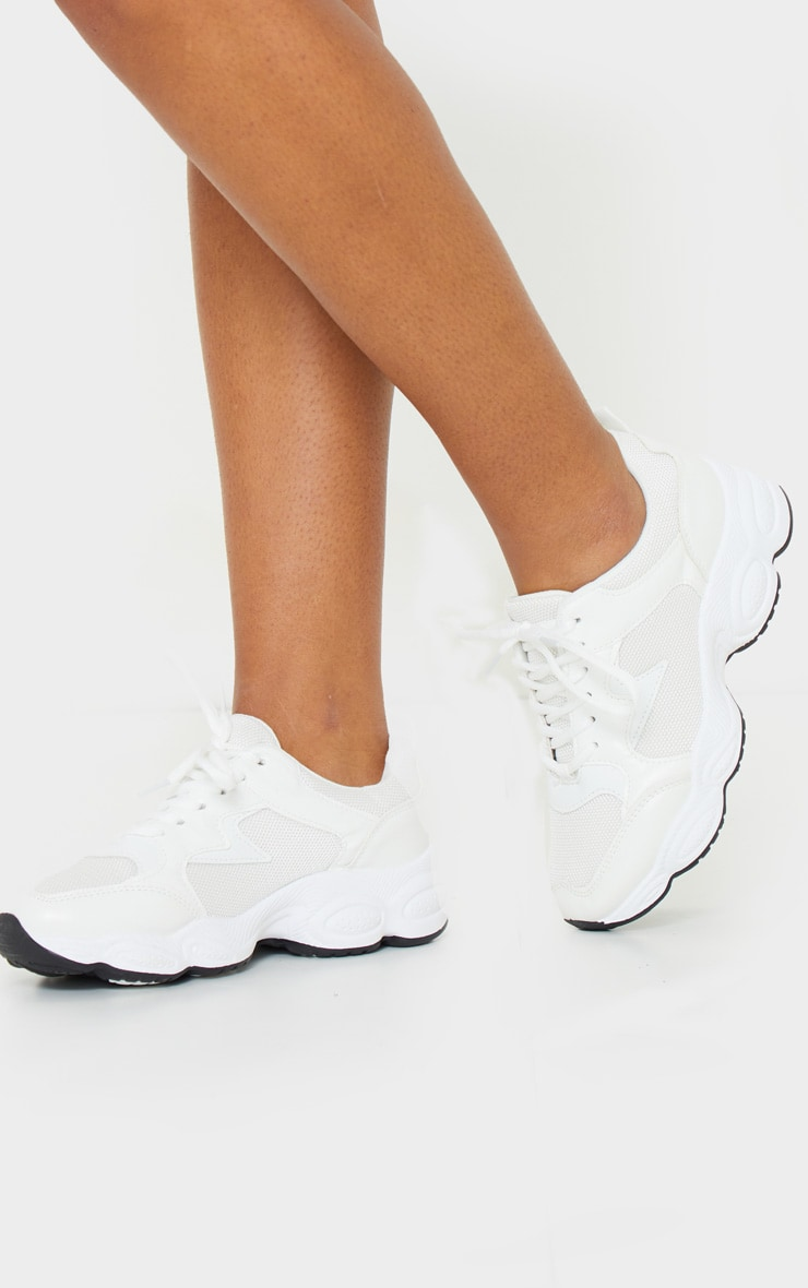 White Basic Bubble Sole Chunky Trainers 2