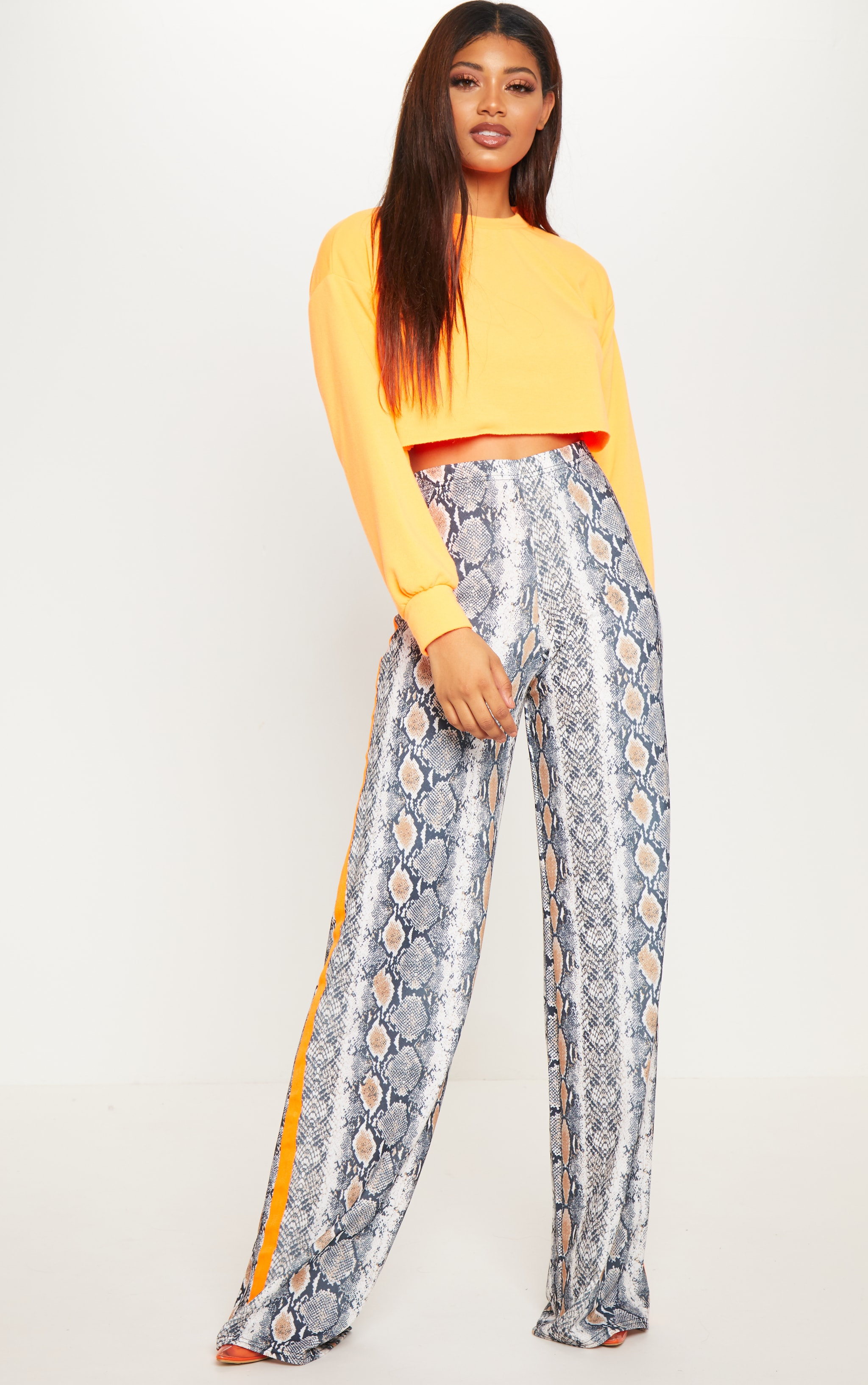 Tall Snake Print Neon Orange Stripe Pants  1