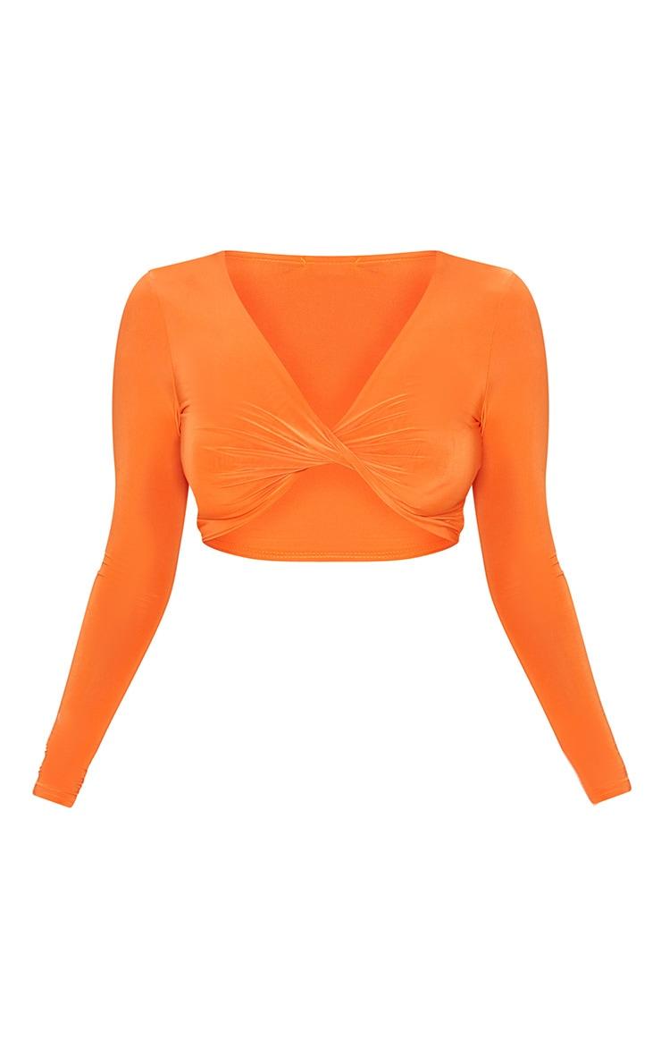 Petite Orange Slinky Twist Front Crop Top 3