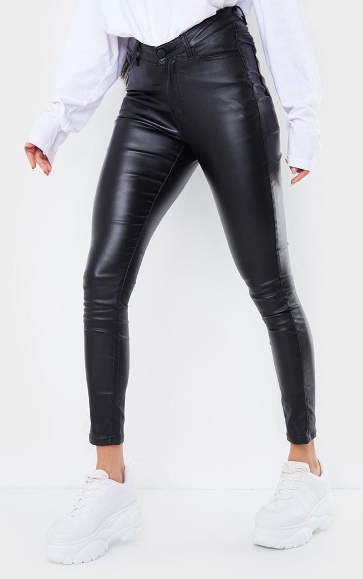 Black Coated Denim Dipped Waistband Skinny Jeans 2