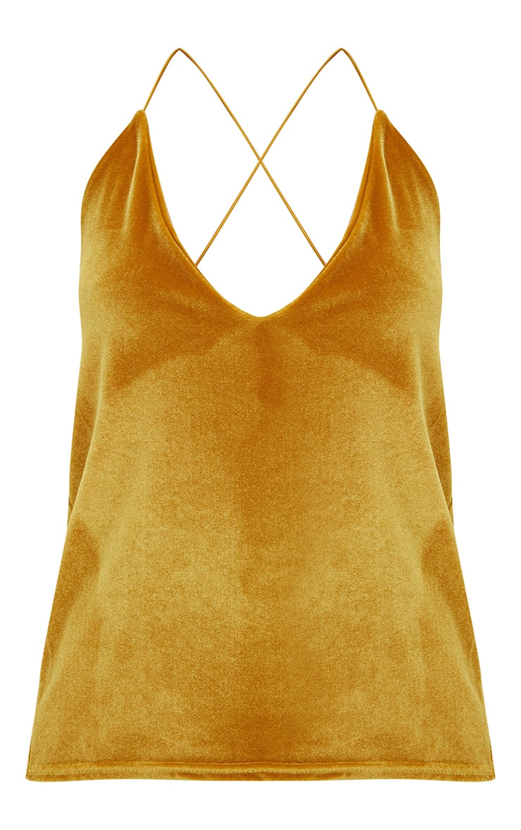 Mustard Velvet Scoop Back Strappy Cami 3