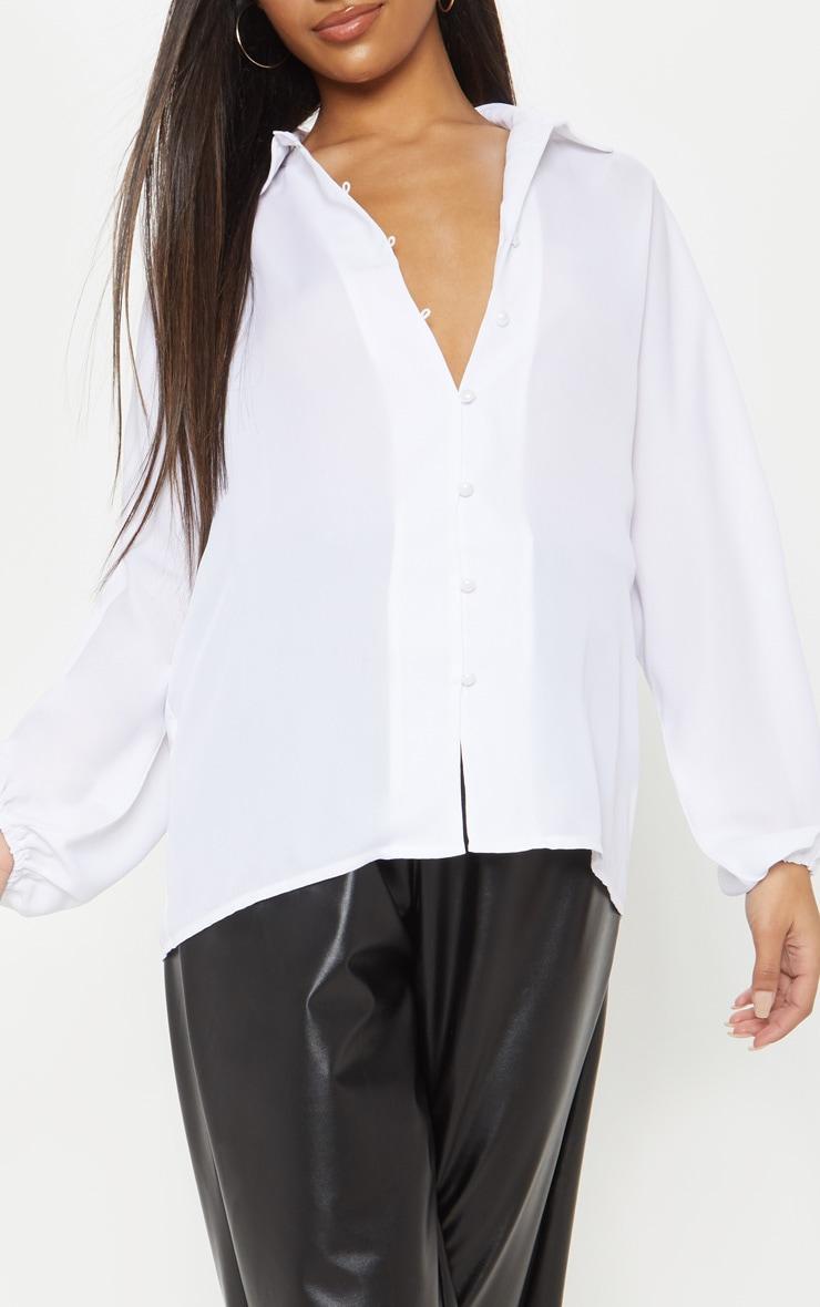White Chiffon Button Up Oversized Shirt 5