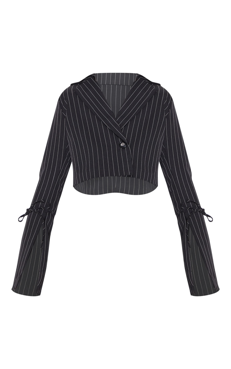 Black Pinstripe Cropped Blazer  4