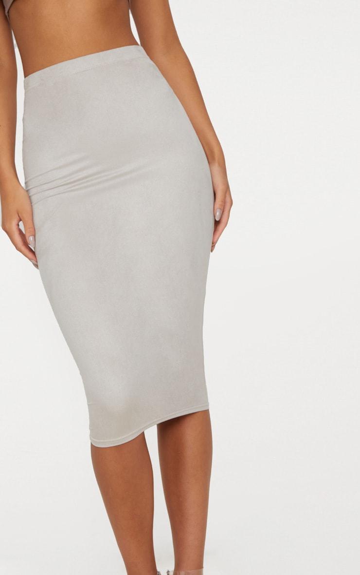 Grey Faux Suede Midi Skirt  5