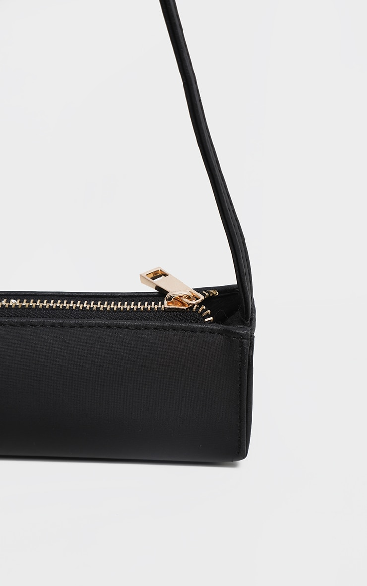 Black Satin Thin Baguette Bag 2