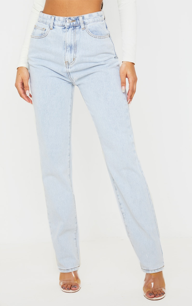 Light Wash Long Leg Straight Jeans 2