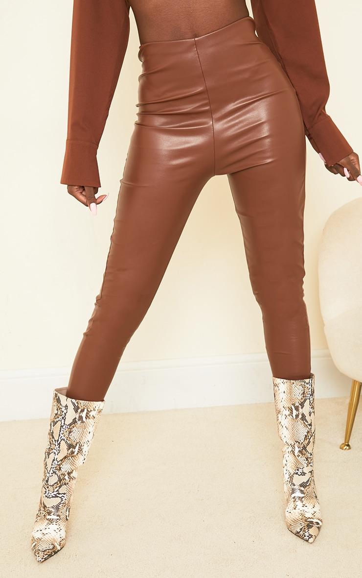 Tall Tan Basic Faux Leather High Waist Leggings 2