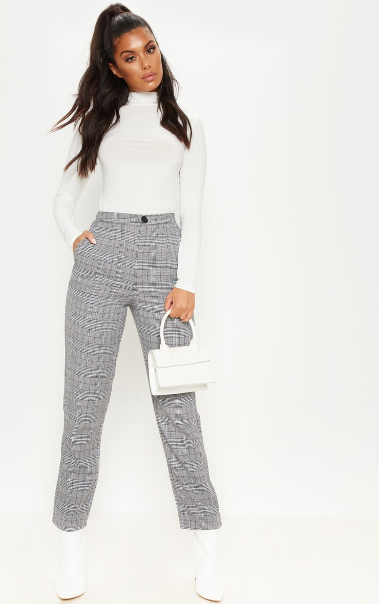 Grey Check Slim Leg Pants 1