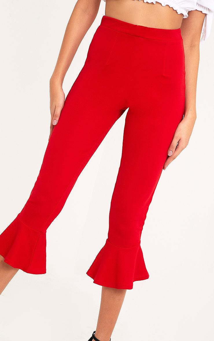 Red Flare Hem Trouser 5