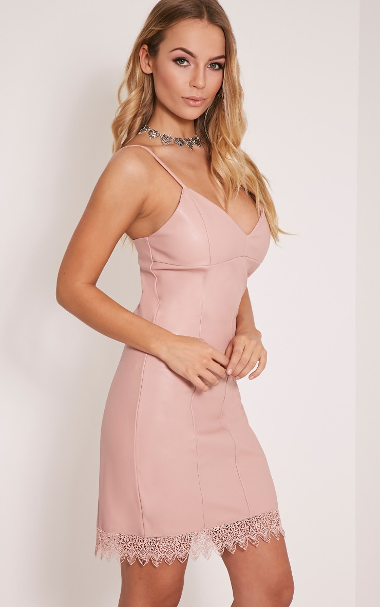 Arliana Rose PU Lace Trim Bodycon Dress 3