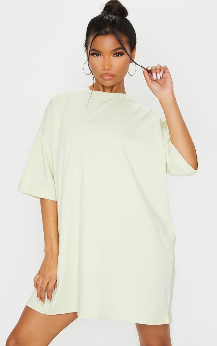 Light Lime Oversized Boyfriend T Shirt Dress 1