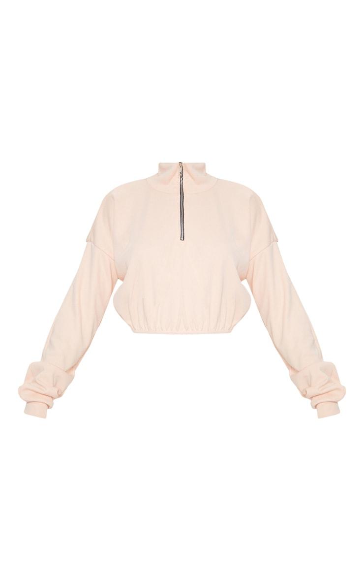 Peach Rib Zip Front Long Sleeve Sweater  3
