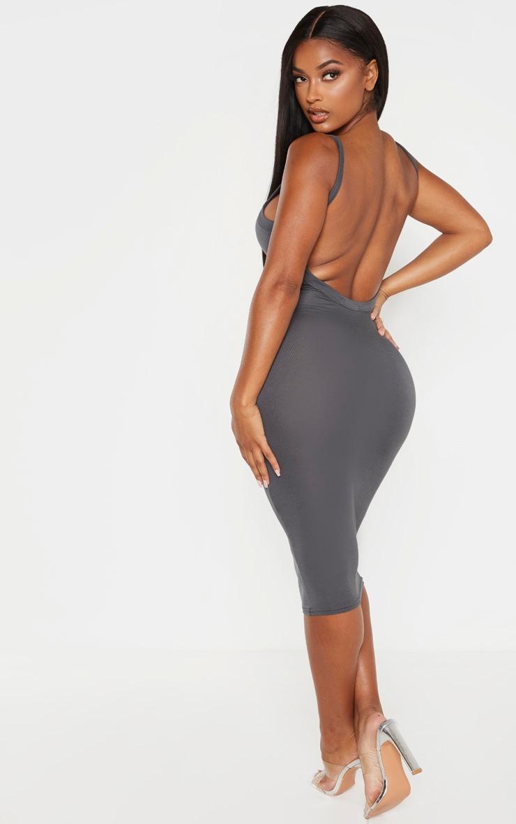 Shape Grey Jersey Scoop Back Midi Dress  2