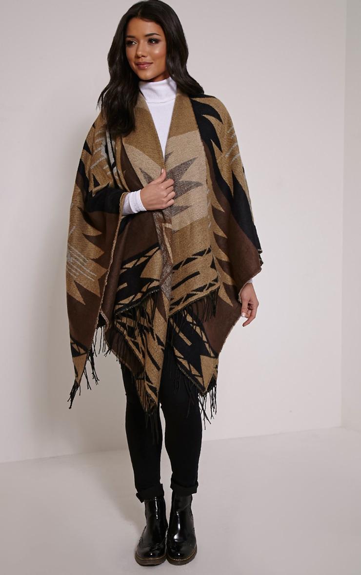 Isabella Brown Aztec Knit Poncho 3
