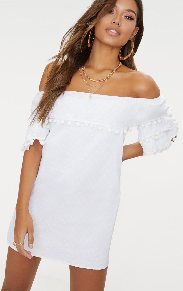 White Pom Pom Bardot Shift Dress 4