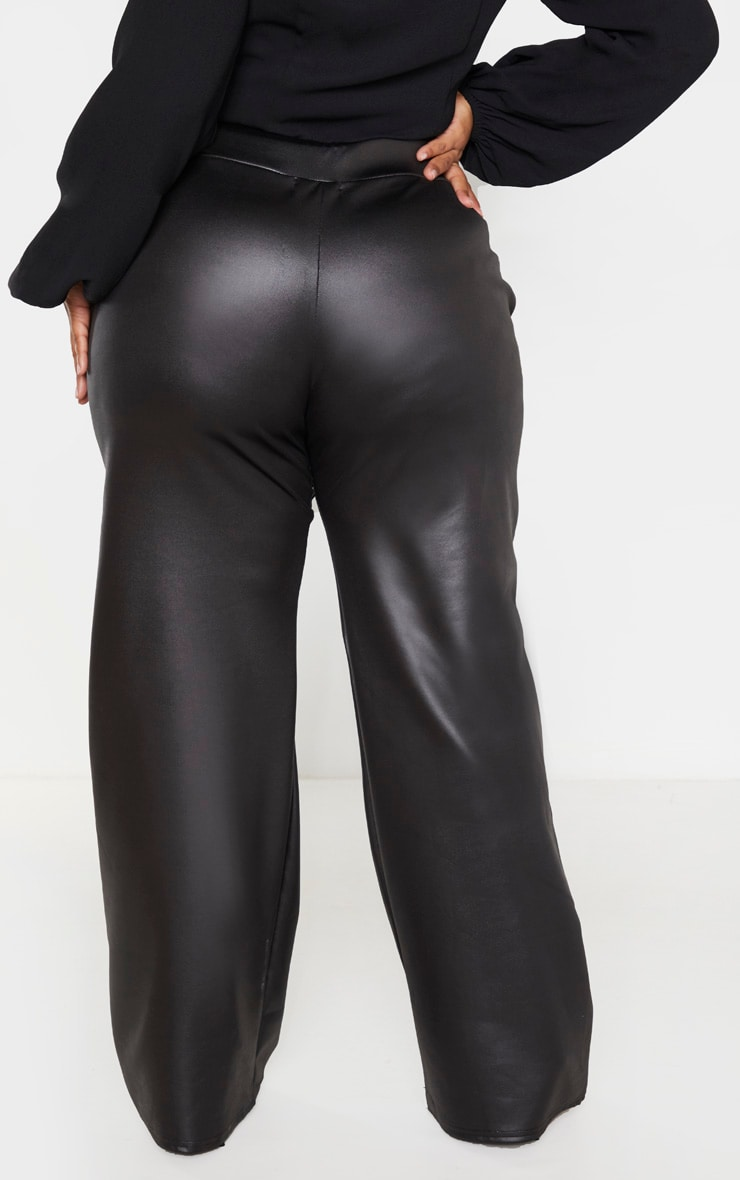 Plus Black PU Wide Leg Trouser 4