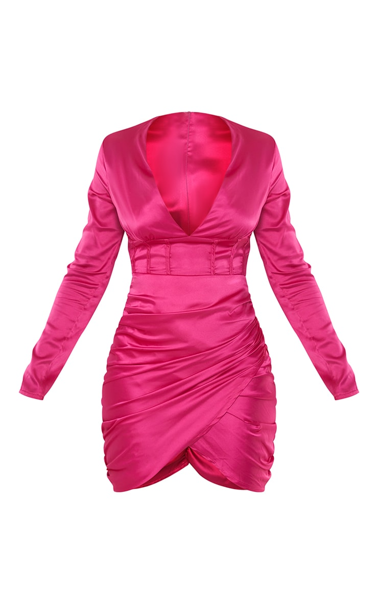 Hot Pink Satin Binding Panel Ruched Long Sleeve Bodycon Dress 5