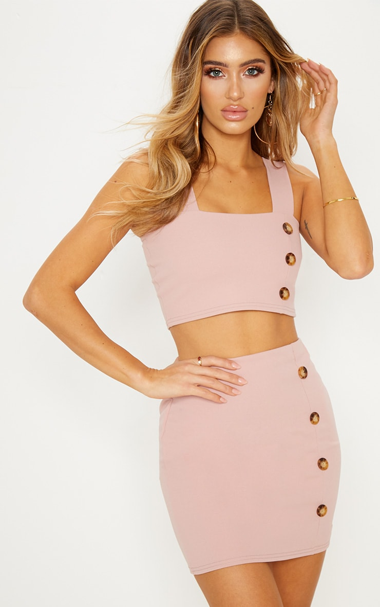 Blush Crepe Button Detail Square Neck Crop Top
