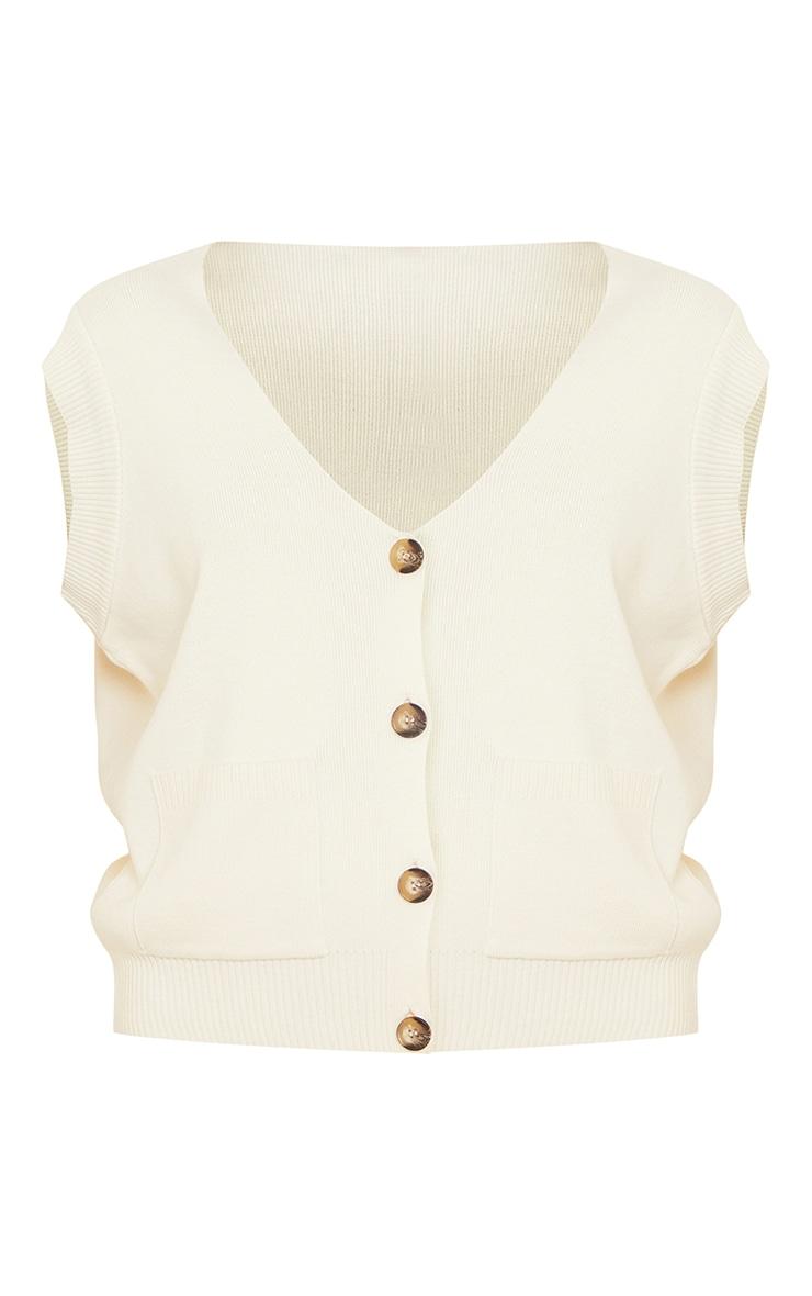 Cream Knitted Pocket Detail Button Down Vest 5