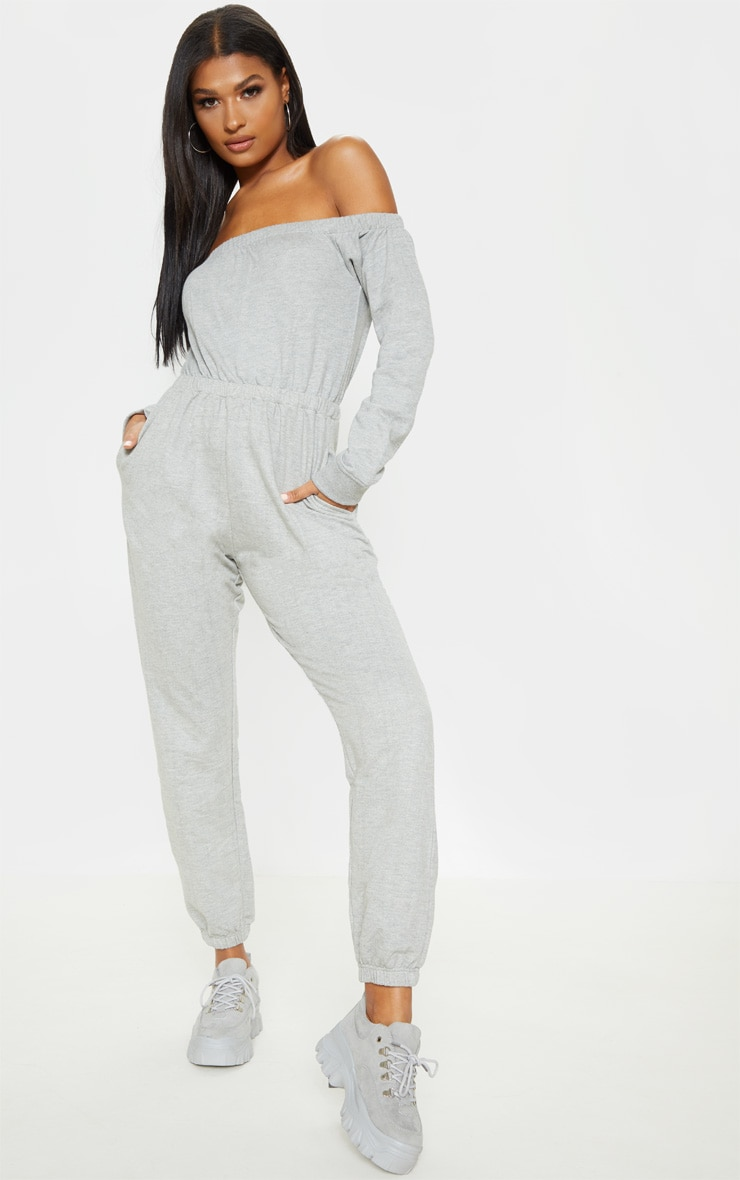 favorable price the sale of shoes sale Grey Bardot Long Sleeve Sweat Jumpsuit