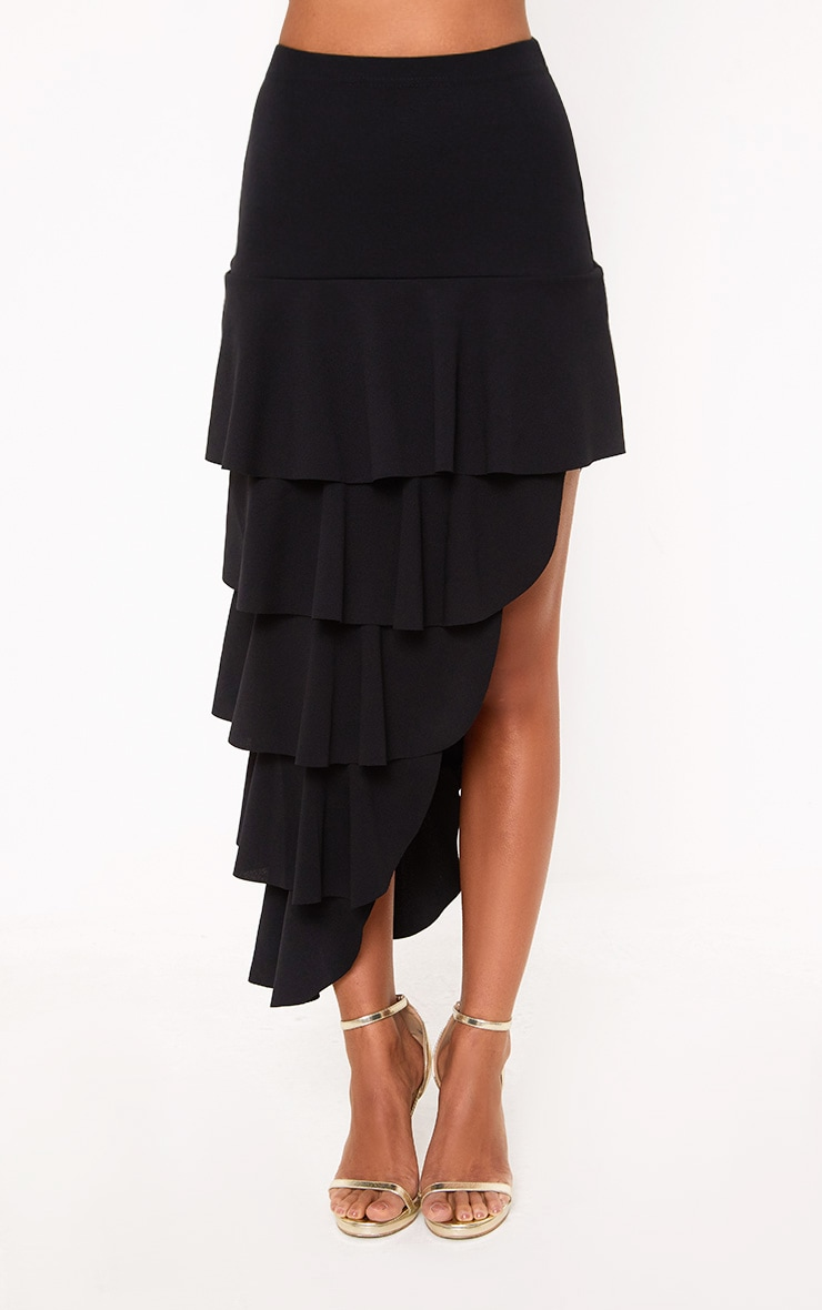 Black Tiered Split Midi Skirt 2