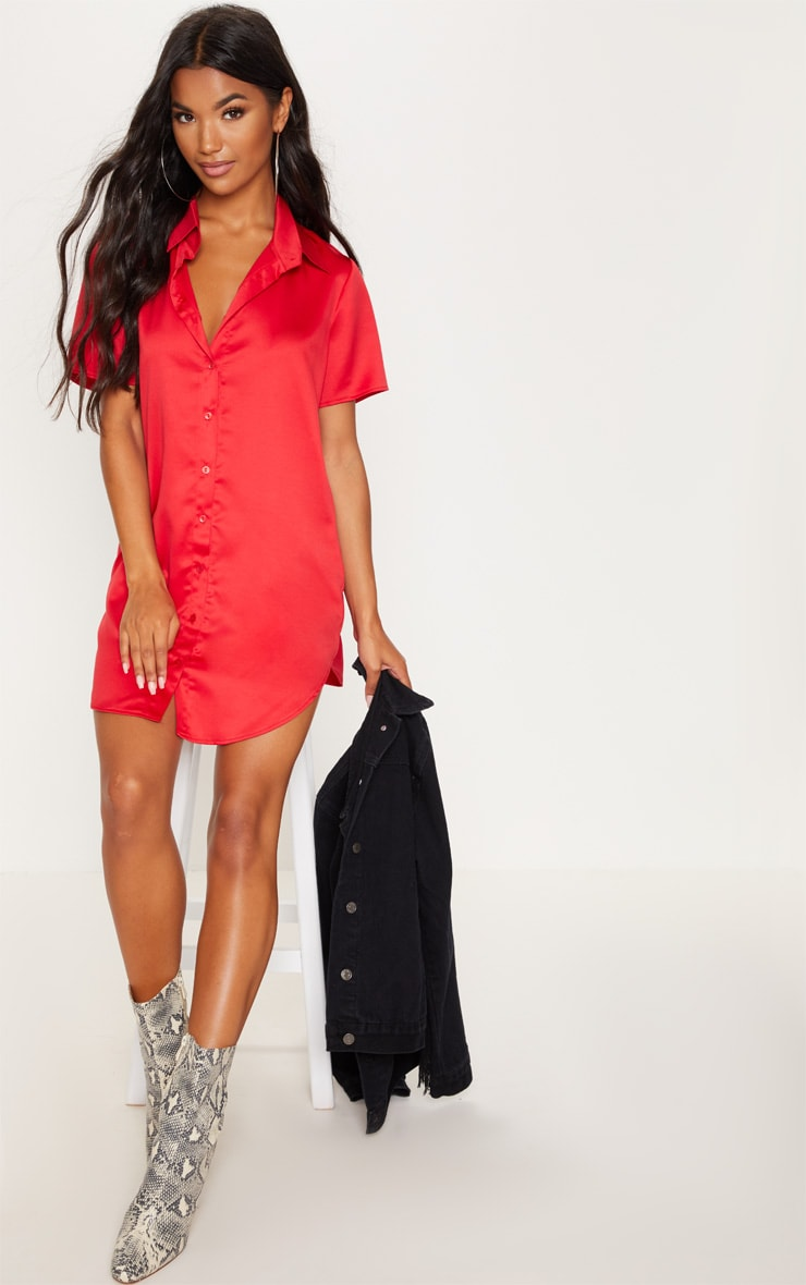 Red Satin Short Sleeve Shirt Dress by Prettylittlething