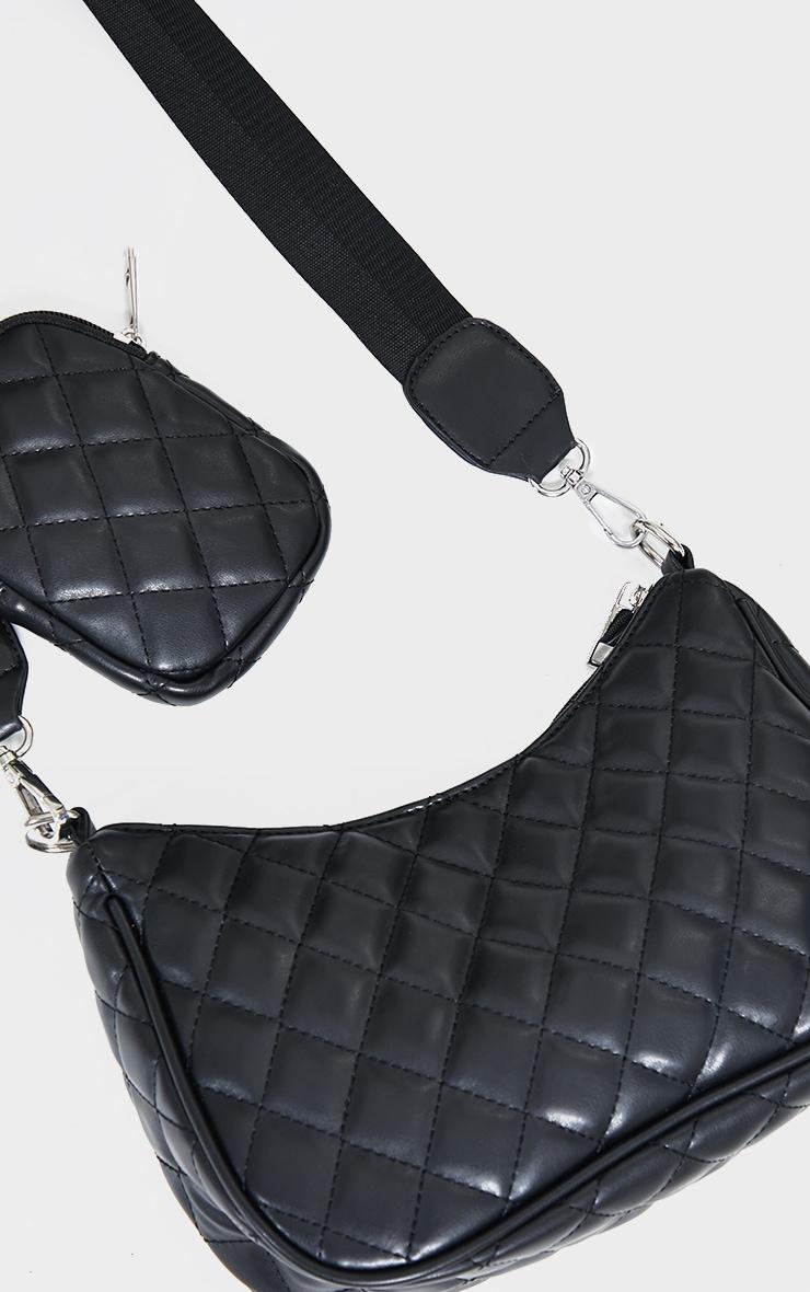 Black Quilted Diamond Cross Body Bag 3