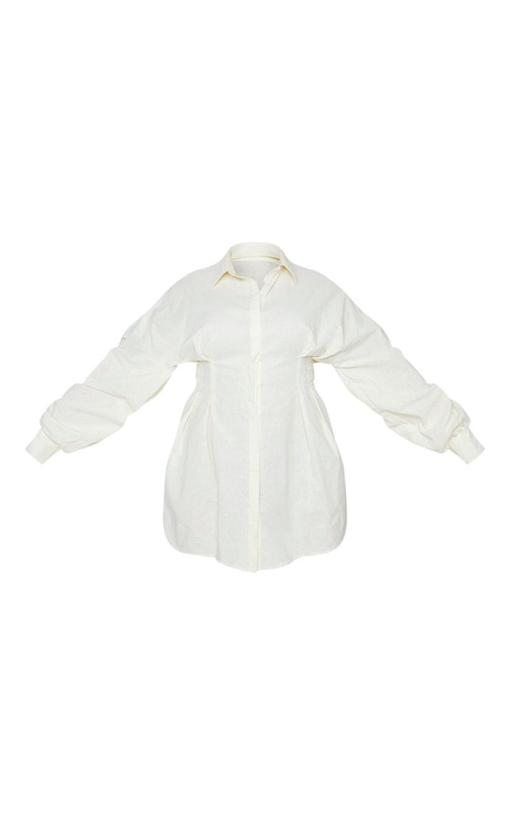 Plus Cream Pleated Detail Puff Sleeve Shift Dress 5