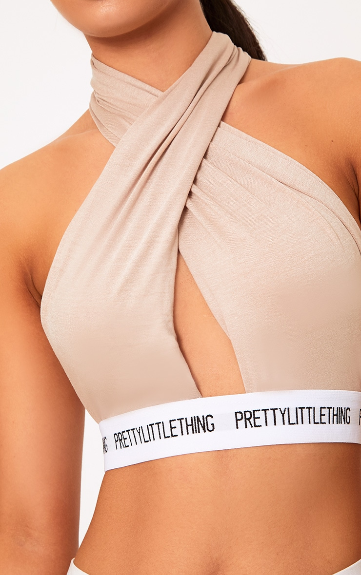 PRETTYLITTLETHING Nude Wrap Front Bra 5