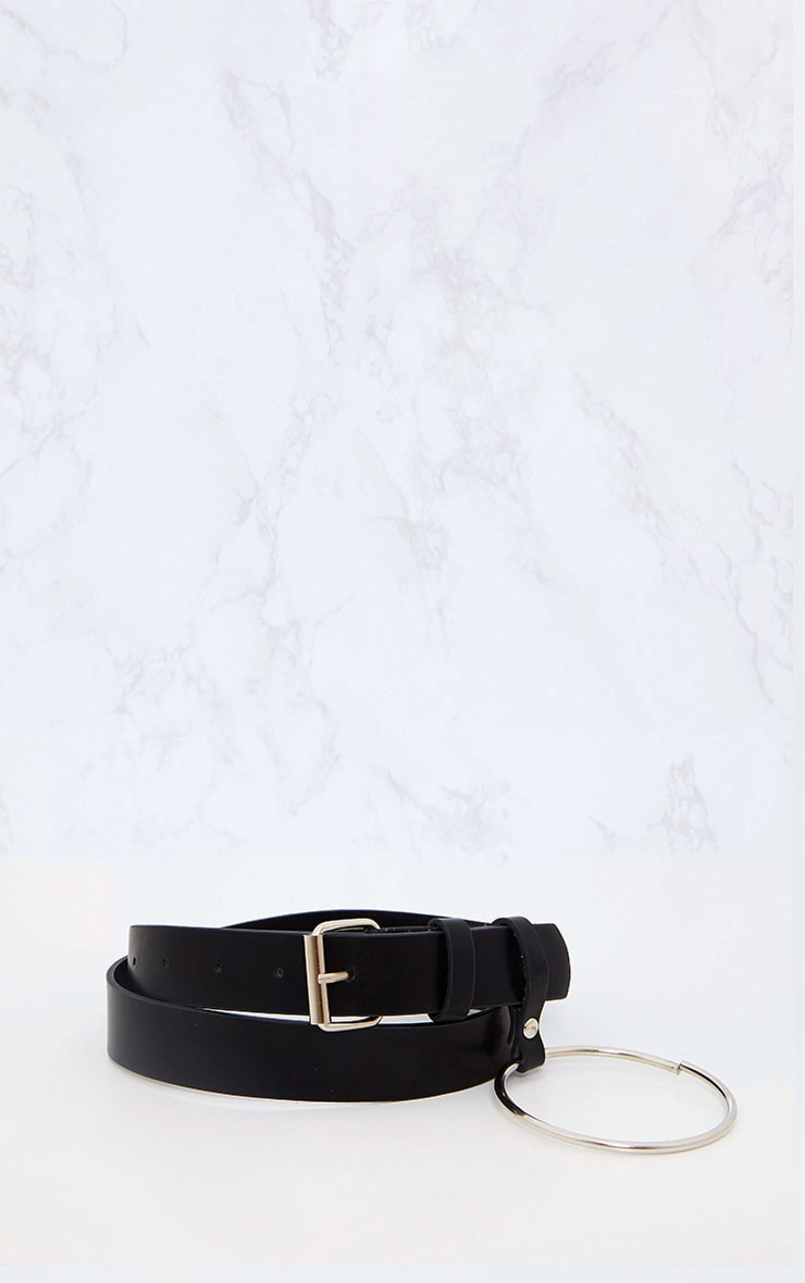 Black Ring Detail Waist Belt 4