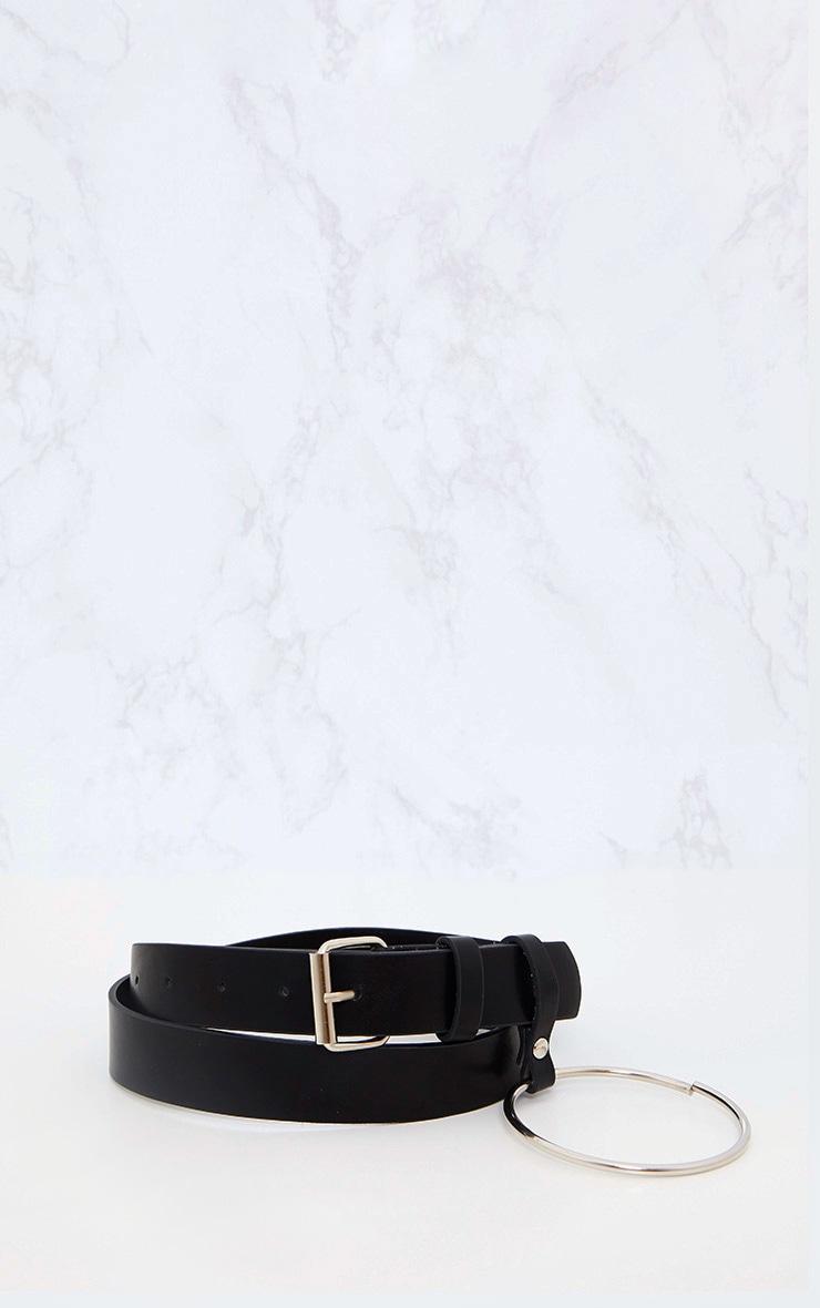 Ceinture tour de taille noire à anneau 4
