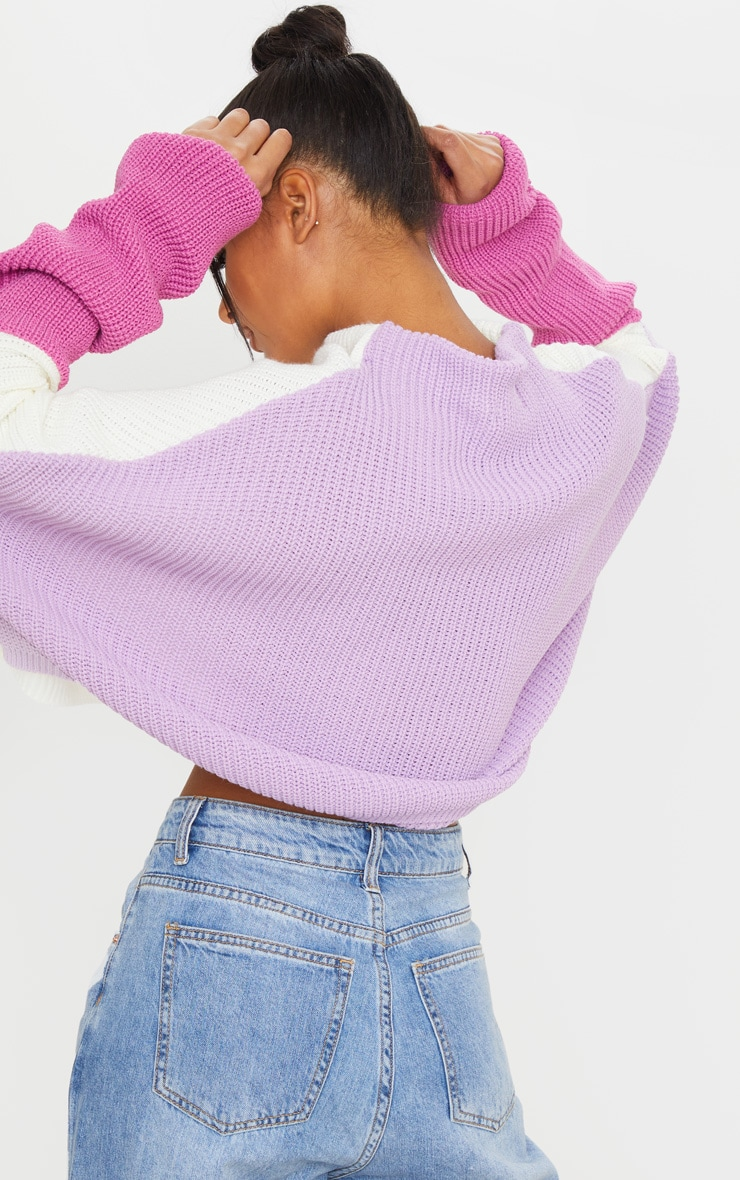 Lilac Oversized Color Block Sweater 2