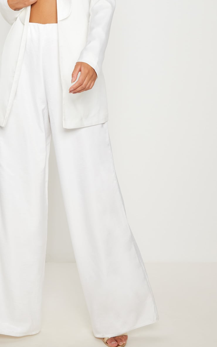 White Oversized Satin Wide Leg Trouser 5