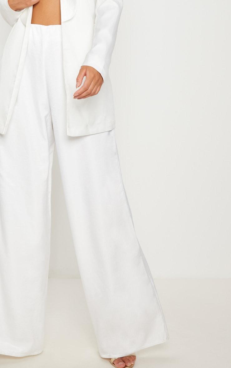 White Oversized Satin Wide Leg Pants 5