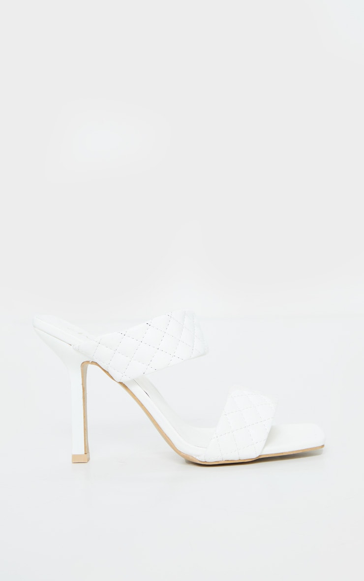 White Twin Strap Quilted Mule Heels 4