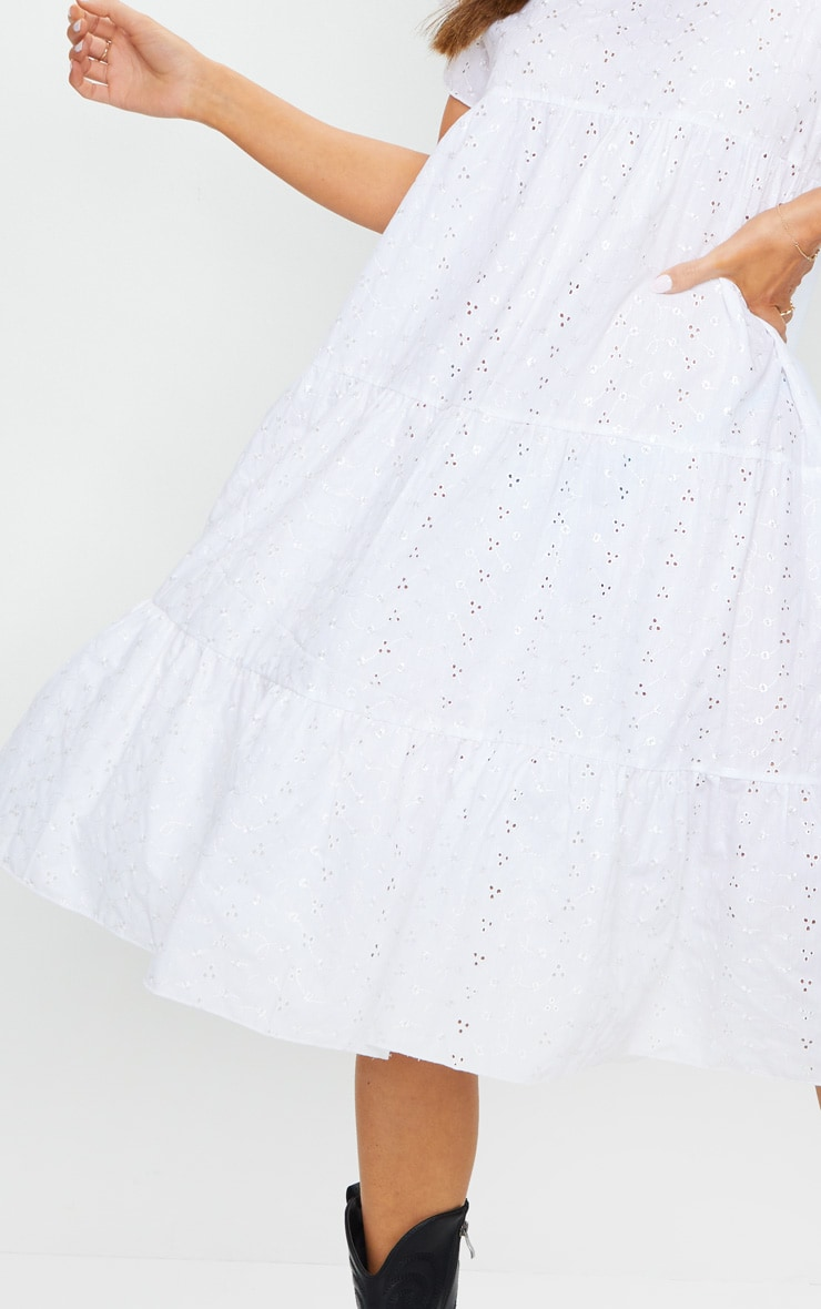 White Broderie Anglaise Tiered Smock Midi Dress 4