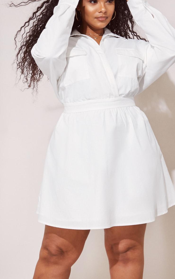 Plus White Utility Plunge Skater Dress 5