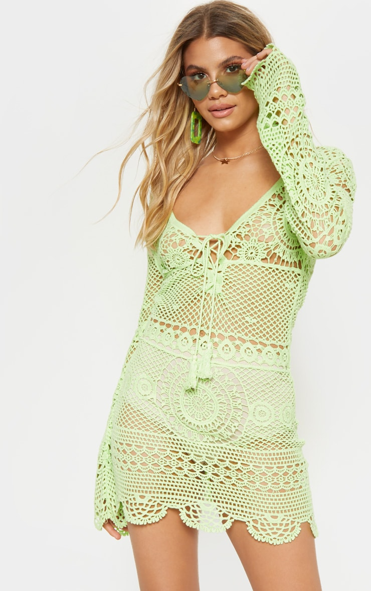 Pretty Little Things ROBE EN COTON EFFET CROCHET VERT CITRON FLUO
