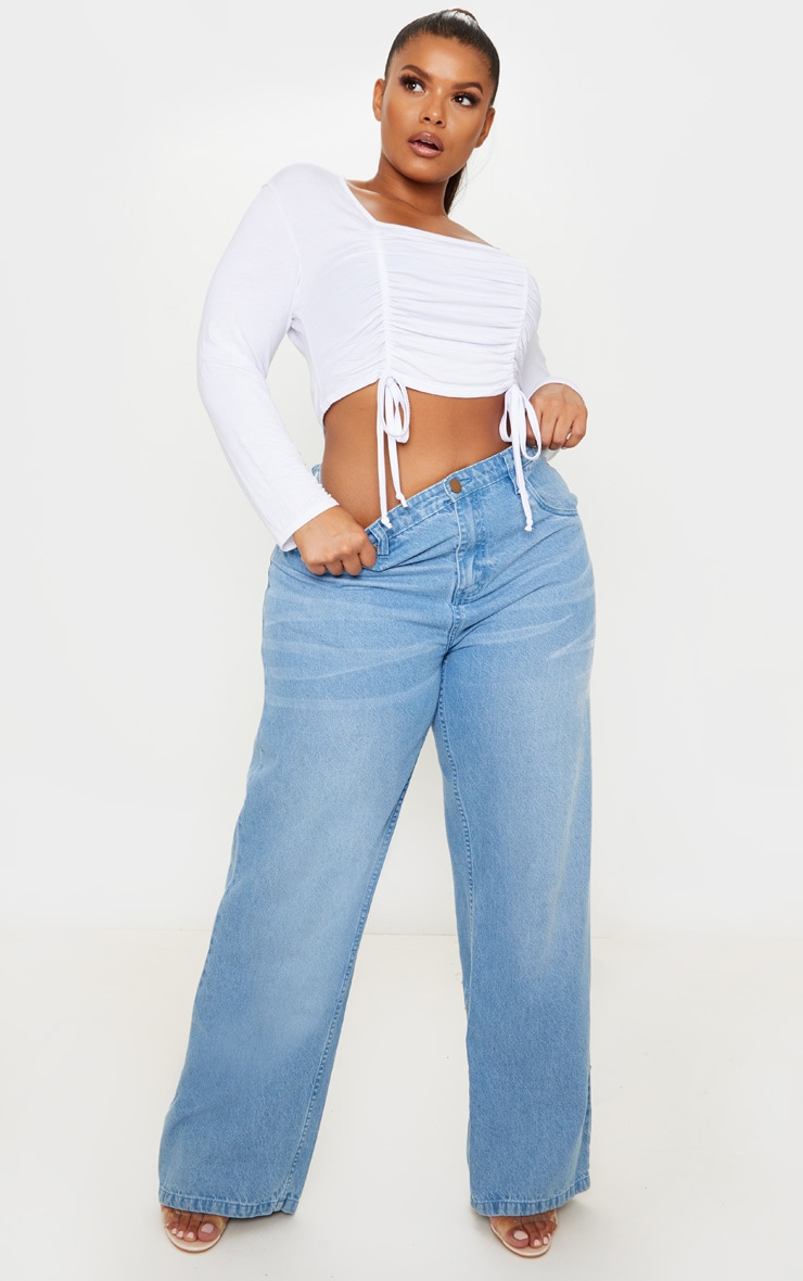 Plus White Jersey Ruched Detail Long Sleeve Crop Top 4