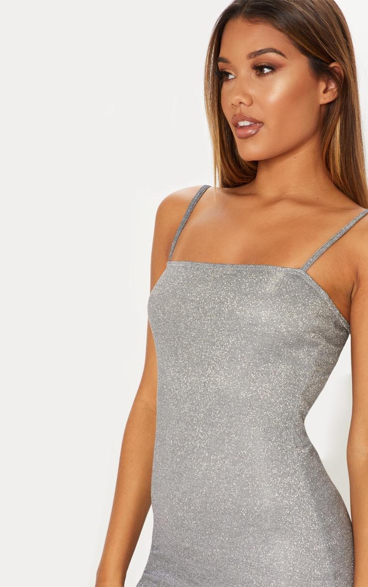 Silver Glitter Strappy Square Neck Bodycon Dress 5